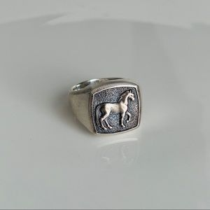 David Yurman Petrvs Horse Pinky Men Ring 6 Silver